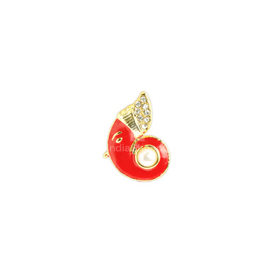 Auraa Ganesha Side Profile in Bright Coral Pendant