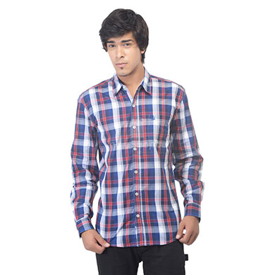 United Colors of Benetton White Full Sleeve Blue and Red Checked Regular Fit Casual Shirt