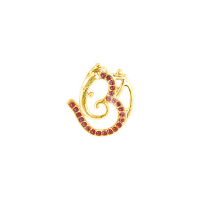 Auraa Om Ganesha Pendant with Brilliant Red Stones Pendant