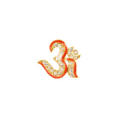Auraa Om Pendant with Brilliant White Stones and Coral Epoxy Pendant