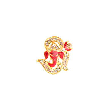 Auraa Om Ganesha in Bright Coral Pendant