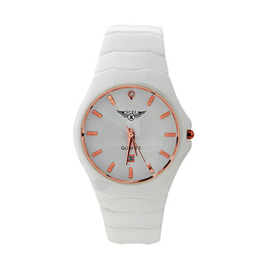 Xcel 8027 Analog Watch for Men Rose Gold White
