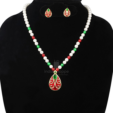 Anokhee AN S26 CZ Link Sets with Pearl Mala