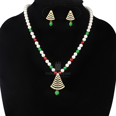 Anokhee AN S23 CZ Link Sets with Pearl Mala